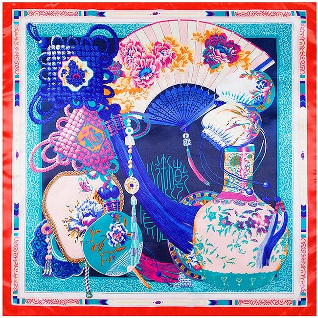 Euro style de Soie 90 cm   90 cm Carré Écharpe hijab Femmes Marque Imité  Soie Traditionnelle Chine Ventilateur et Chinois noeud Foulards 68417496f8f