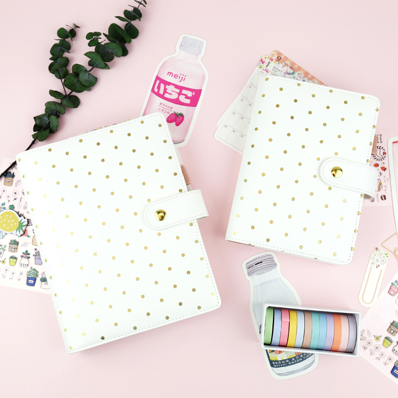 цена на 2018 New Arrive Yiwi Creative Golden Wave Point White A5 A6 DIY Planner 6 Loose Leaf Binder Notebook Stationery