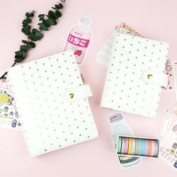 Nuovo Arriva Yiwi Creativo D'oro Punto Dell'onda Bianco A5 A6 FAI DA TE Planner 6 Fogli Intercambiabili Binder Notebook di Cancelleria