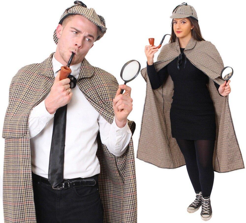 SHERLOCK HOLMES COSTUME CAPE CLOAK HAT DETECTIVE WORLD BOOK DAY FANCY DRESS COSTUME PROP CHARACTER UNISEX