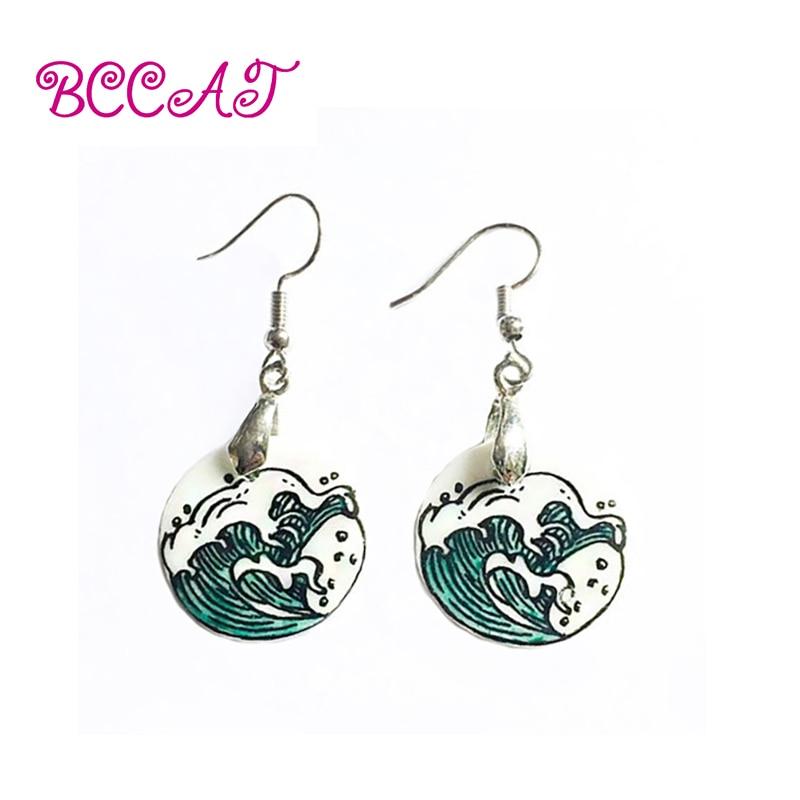 BCCAT women ethnic earrings fashion handmade tibetan silver earrings new vintage dangle ceramic earrings