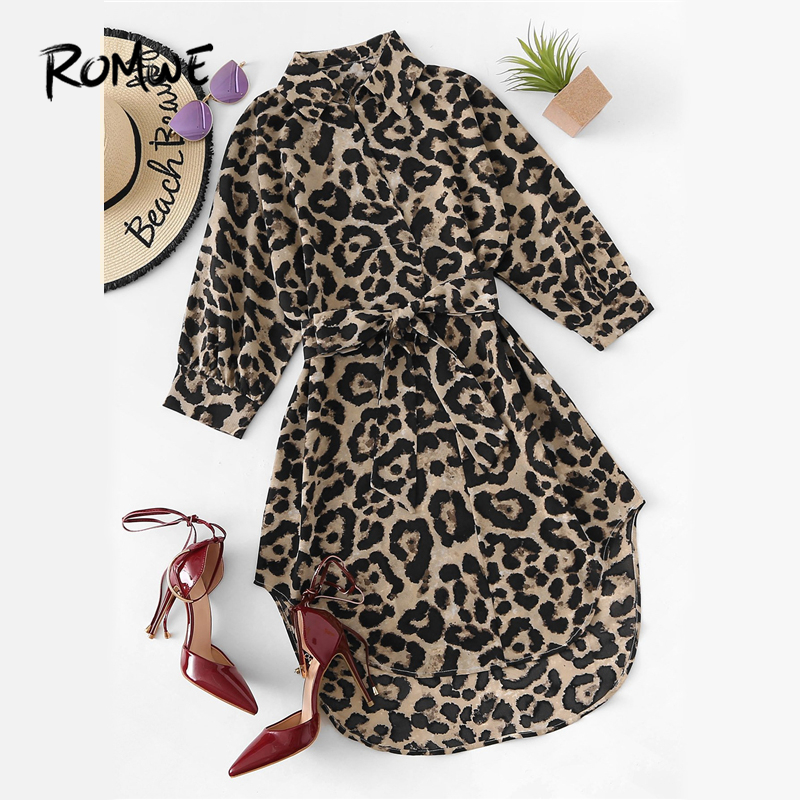 ROMWE Belted Leopard Print Stand Collar Dresses Women Casual Summer New Style Short Sleeve Female A Line Knee Length Sexy Dress leggings