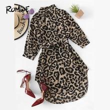 44726041fd7a2 ROMWE Gürtel Leopard Print Stehkragen Kleider Frauen Casual Sommer Neue  Stil Kurzarm Weibliche EINE Linie Knie Länge Sexy kleid