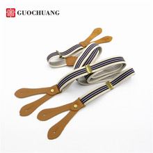 GUOCHUANG New Button stripes suspenders Men and women 6 button elastic adjustable pants suspender