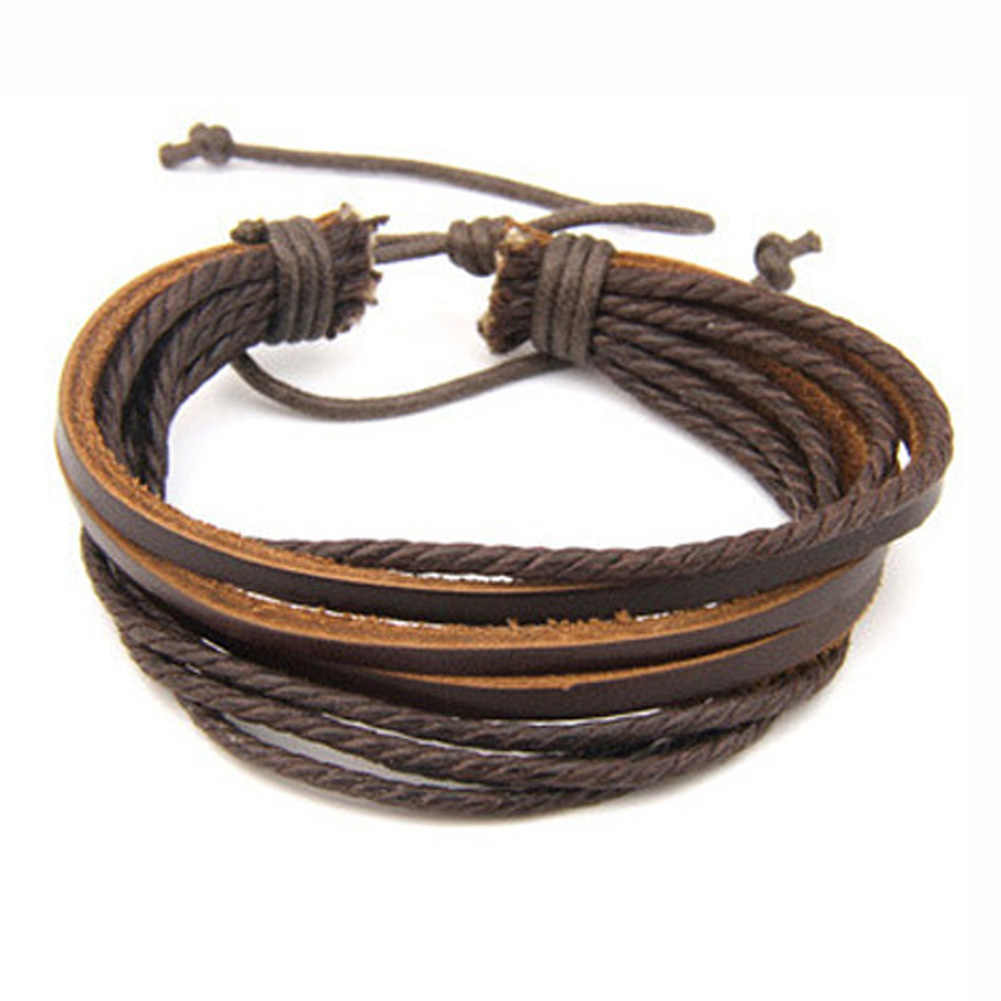 2017 Hot 100% Hand-woven Fashion Jewelry Leather Braided Rope Wristband Wrap Multilayer Men Bracelets & Bangles For Women