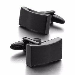 Alta qualidade de luxo vendas quentes aço inoxidável abotoaduras preto clássico casamento negócio 1 par conjunto atacadista