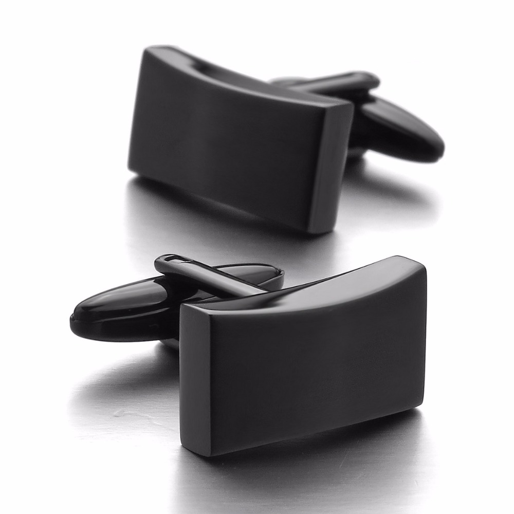 High Quality Luxury   Hot Sales Stainless Steel Cufflinks Black Classic Wedding Business 1 Pair Set Wholesaler