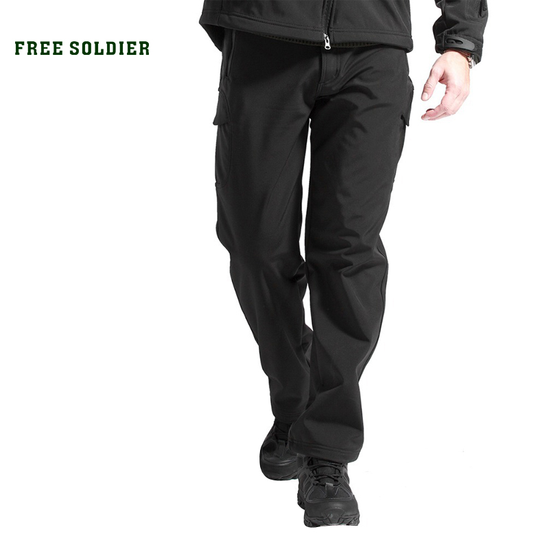 FREE SOLDIER Outdoor Sport Tactical Climbing Hiking Men's Pants Softshell Fleece Fabric free soldier outdoor sport tactical military belt for camping hiking climbing men s molle belt 1 5 inches nylon belt