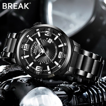 BREAK Men Top Luxury Brand Stainless Steel Band Fashion Casual Calendar Quartz Sports Wristwatches Creative Gift