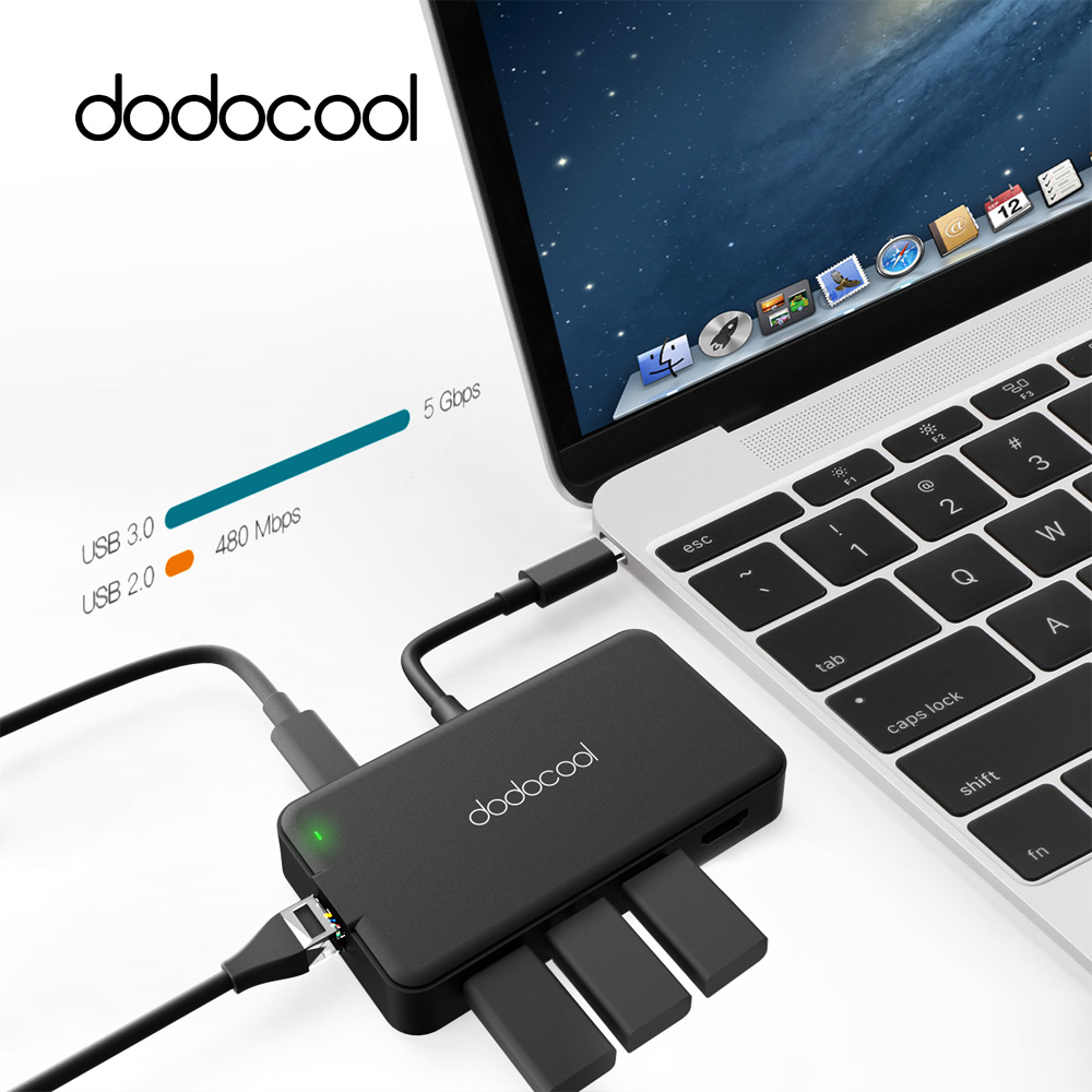 все цены на Dodocool Multifunction USB Hub with Type-C Power Delivery 4K Video HD/VGA USB Port 7 in1 USB 3.0 Hub For Samsung Galaxy S9 S8
