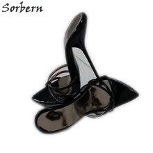 Sorbern/пикантные черные шлепанцы с см перекрестными ремешками 14 см 16 см, женская обувь для ночного клуба, женские шлепанцы на высоком каблуке