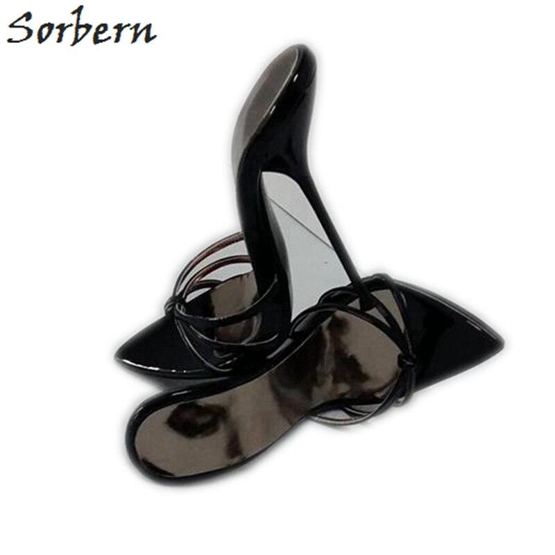 Sorbern Sexy Noir 14 cm 16 cm Croix Sangle Pantoufles Femmes Night Club Dames Chaussures Pour Affichage T-Spectacle de danse À Talons Hauts Diapositives Femelle