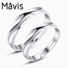 Mavis JEWELS Tension Setting lover Rings for Men Women Silver -Color 925 Silver Ring for Parties lover gift one pair