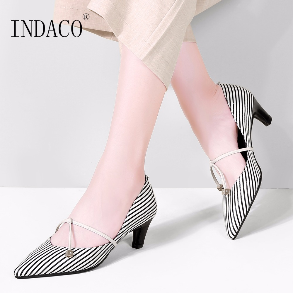 2018 Leather Dress Pumps Shoes Striped Low Heel Pumps Bow Office Shoes Genuine Leather 5cm Plus Size