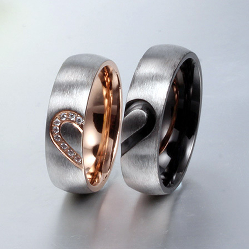 New Fashion Love Heart Couple Rings Wedd