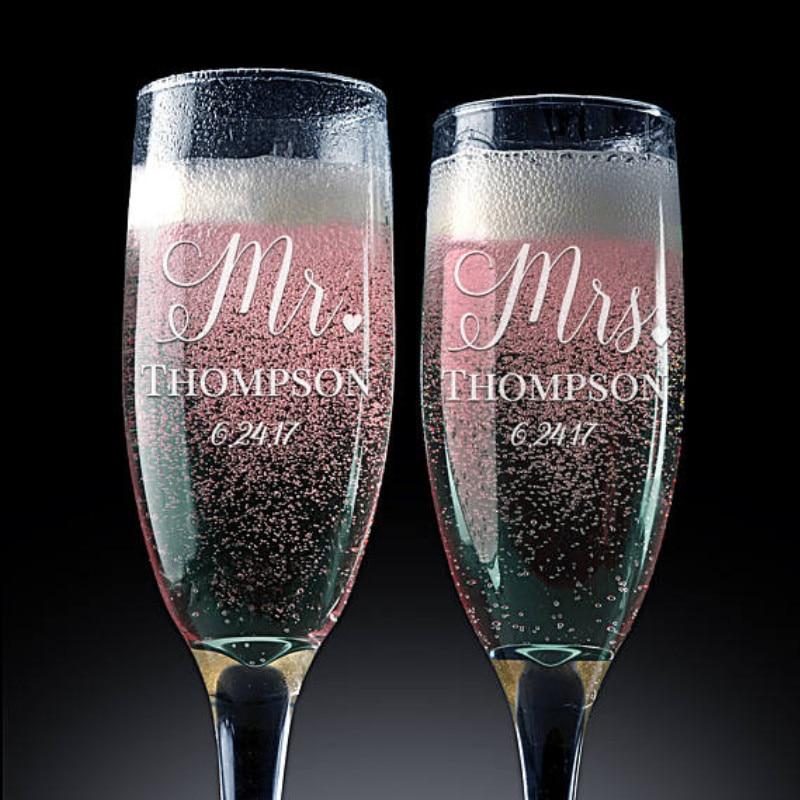 Princess Wedding Toasting Glasses Set of 2 Toasting Flutes