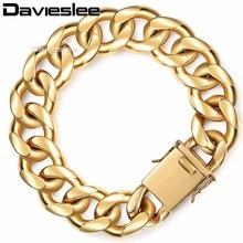 Davieslee mens pulsera de cadena Miami curb cubano personalizar Acero inoxidable oro-color 13/18mm LHBM110