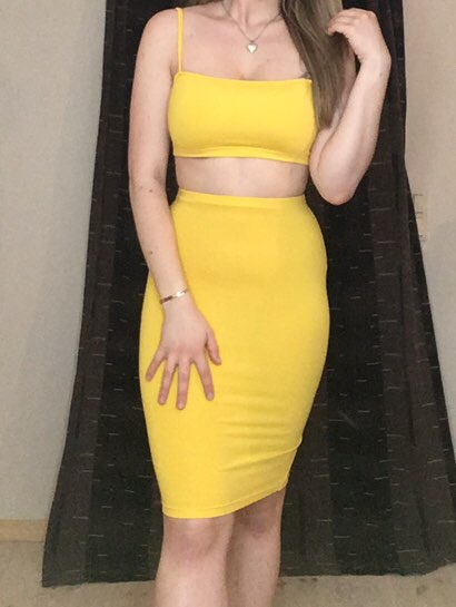 Two Piece Sexy Dress Women Clothes Black White Red Yellow Summer Bodycon Sundress Robe Spaghetti Strap Party Dresses photo review