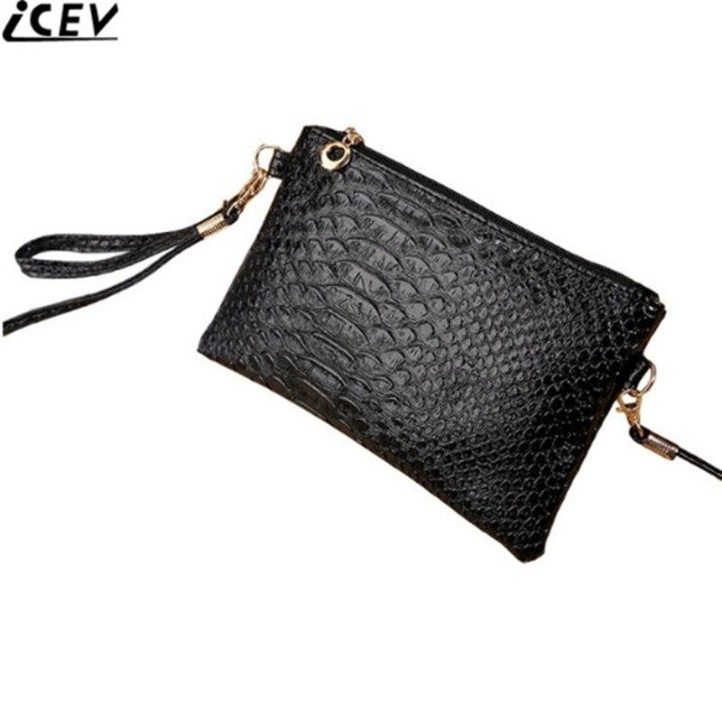 6e9ace672e64 US $3.56 40% OFF|ICEV New Fashion Korean Type Alligator Women Messenger Bag  Coin Purse Simple Crocodile Day Clutch Cute Ladies Shoulder Phone Bag-in ...