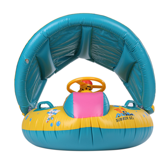 ee23a16ae00c Safe Inflatable Baby Swimming Ring Baby Infant Float Adjustable Sunshade  Seat Inflatable Wheels Swimming Accessories Toys