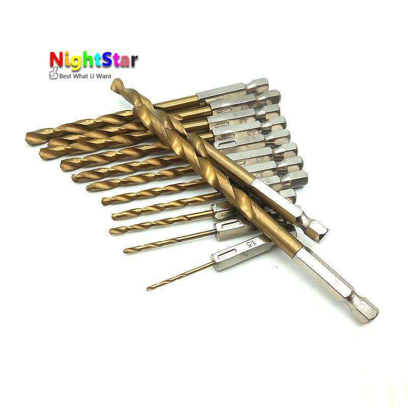 13PCS High Speed Steel Titanium Coated Drill Bit Set 1/4 for Drilling Concrete Brick Power Tool Accessories 1.5-6.5 13pcs lot hss high speed steel drill bit set 1 4 hex shank 1 5 6 5mm free shipping hss twist drill bits set for power tools