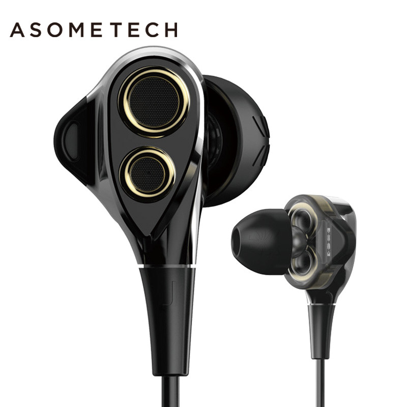 ASOMETECH Dual Dynamics Sport Earphone For iPhone Xiaomi Xiomi 6 Stereo In Ear Headset 3.5mm Wired HIFI Music Earphones With Mic rock y10 stereo headphone earphone microphone stereo bass wired headset for music computer game with mic