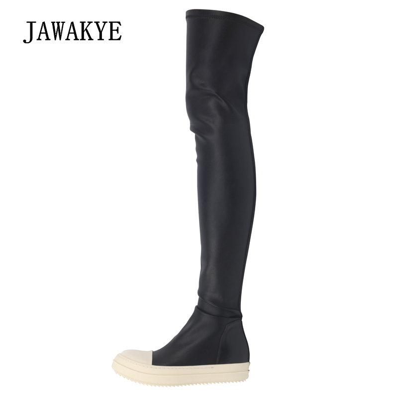 Classical Black Elastic Over the knee thigh High Boots Women White thick bottom Flat Motorcycle Leather long boots Bottine FemmeClassical Black Elastic Over the knee thigh High Boots Women White thick bottom Flat Motorcycle Leather long boots Bottine Femme