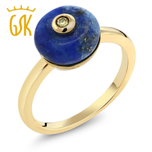 GemStoneKing Natural Blue Lapis and Yellow Diamond 14K Yellow Gold Plated 925 Sterling Silver Ring For Women