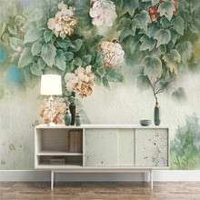 Original retro hand-painted flower TV background wall custom high-end mural factory wholesale wallpaper photo
