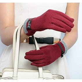 Girls Women Fashion Winter Warm Touch Screen Outdoor Full Fingers Wrist Gloves