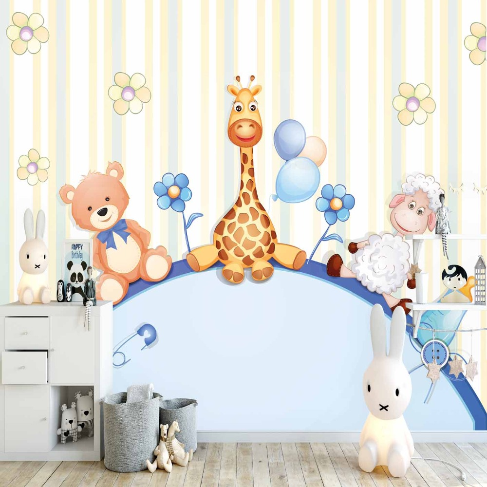 Else Blue Yellow Lines Funny Giraffe Bear Lamps 3d Print Cartoon Cleanable Fabric Mural Kids Children Room Background Wallpaper