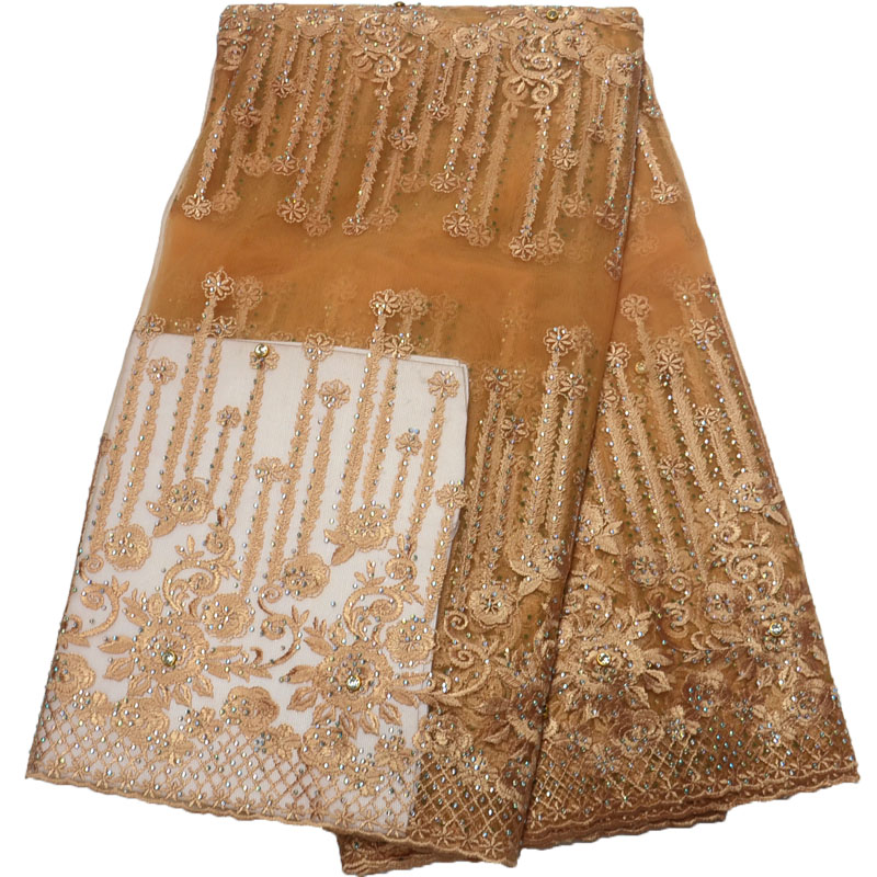 Hot Selling Gold African Wedding Dress Lace Nigerian Latest Lace Fabric High Quality Gold Embroidery French Laces X835 9