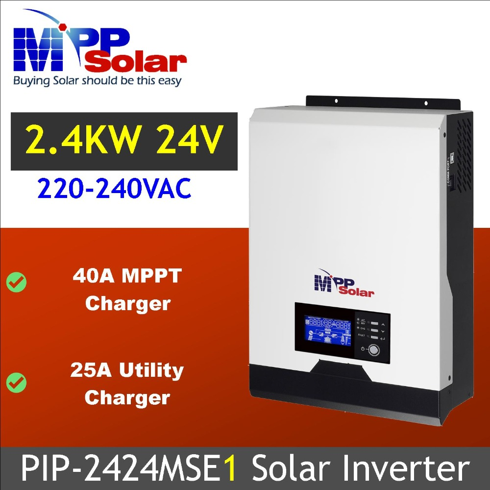MSE1 Solar inverter 3kva 2400w 24vdc 230Vac 40A MPPT solar charger battery charger 25A