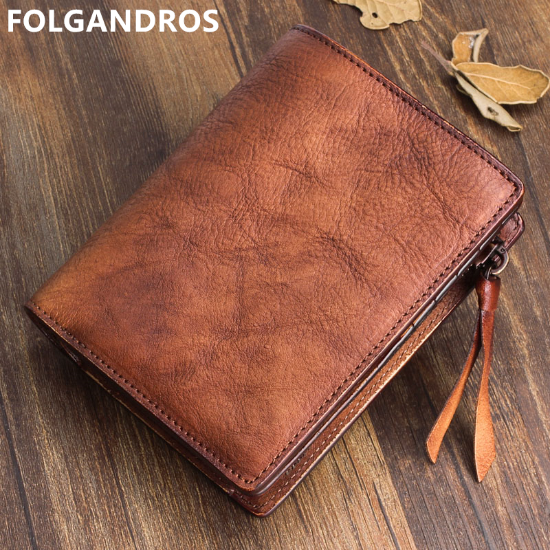 FOLGANDROS Designer Vintage Wallet Men Handmade 100% Natural Genuine Leather Holders Crazy Horse Cowhide Purse Card Coin Pocket