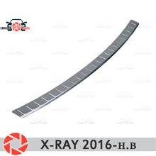 Для Lada X-Ray 2016-защитная пластина на Задняя накладка на бампер Стайлинг автомобиля украшение накладка панель аксессуары литье