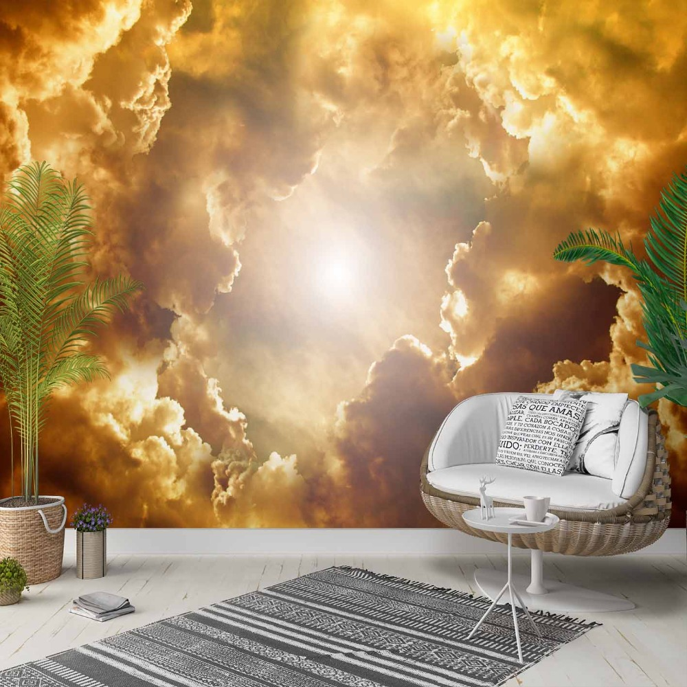 Else Yellow Brown Sky Clouds Shine Sun Set 3d Photo Cleanable Fabric Mural Home Decor Living Room Bedroom Background Wallpaper