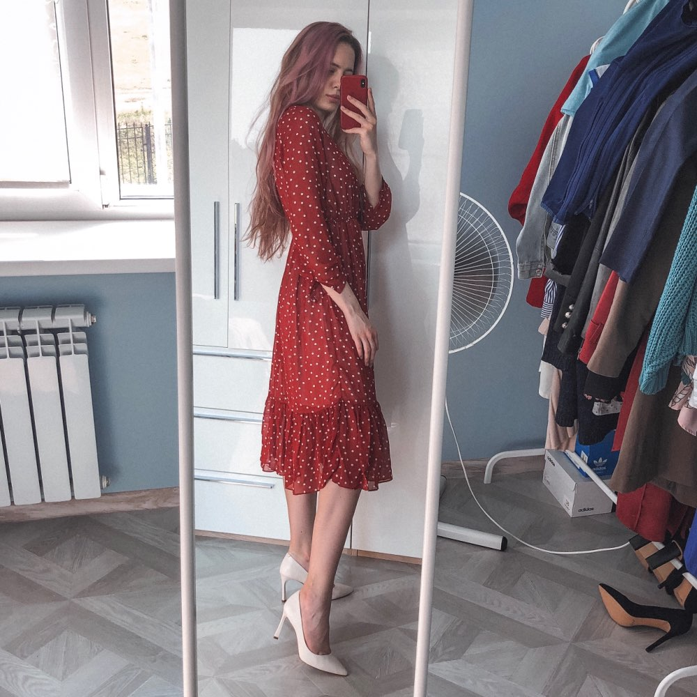 Two Layers V Neck Dot Printed A Line Women Long Dress Full Sleeve Female Chiffon Dress Elastic Waist Vestidos photo review