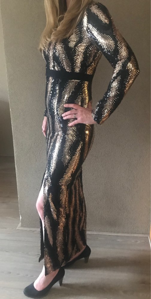 Winter Sequin Celebrity Evening Runway Party Dress Women Vestidos Sexy Backless Maxi Long Sleeve Night Club Dress photo review