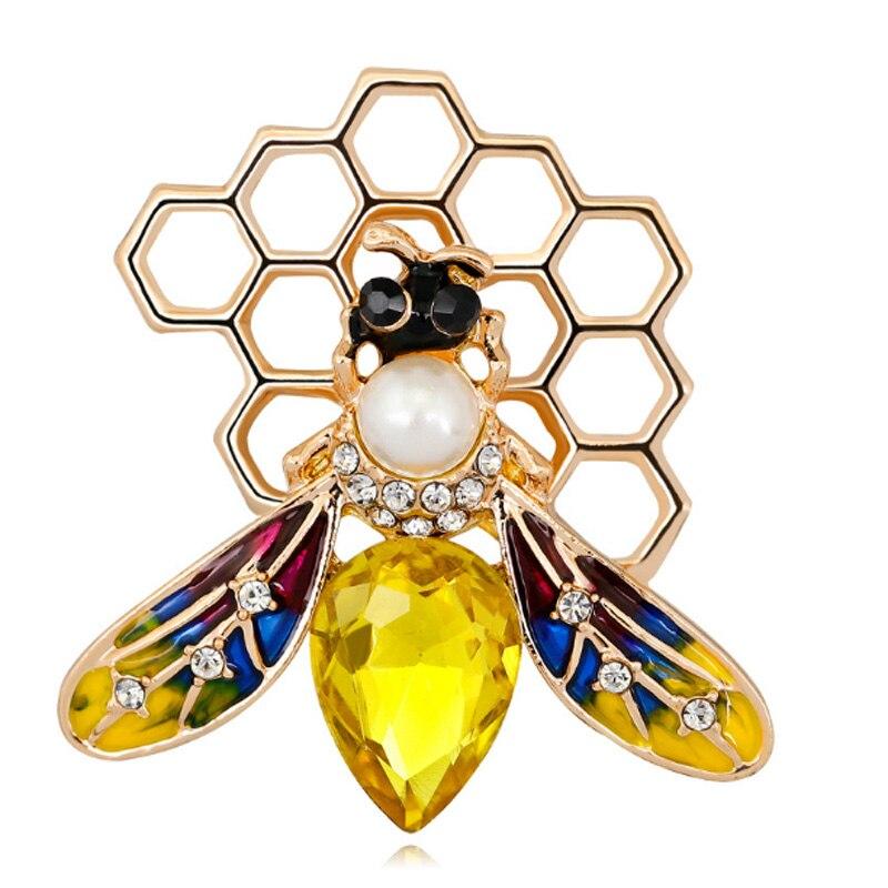 Zlxgirl jewelry Yellow Rhinestone Bee brooches For Women ...