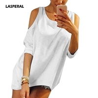 LASPERAL Plus Size 5XL Women T Shirt 2017 Strapless T Shirt Casual Loose Tee Sexy Off