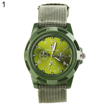 купить Men's Fashion Military Army Style Nylon Band Sports Analog Quartz Wrist Watch дешево