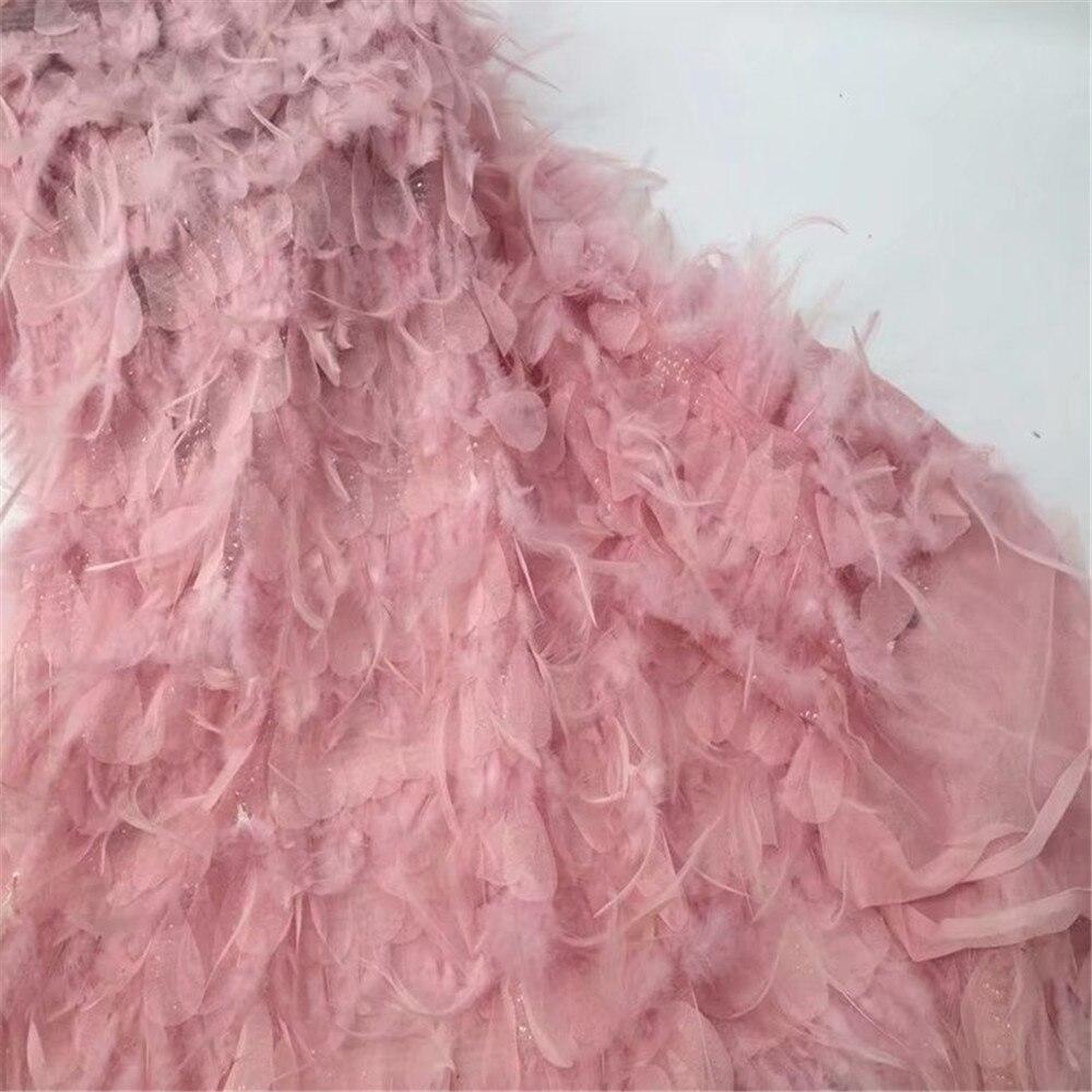 Модные Роскошные французский 3d розовый вышивка кружева перо африканских платье тюль кружевной ткани для девочек X636 5