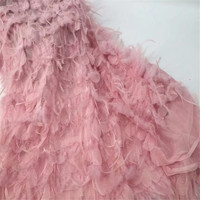 Fashionable Luxury French 3d Pink Embroidery Lace Feather African Dress Tulle Lace Fabric For Girls X636 5