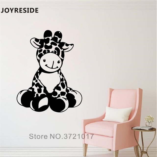 Special Price JOYRESIDE Giraffe Cute Wall Decal Little Giraffe Funny Wall Sticker Vinyl Decor Home Baby Bedroom Decor Interior Designed A964