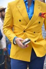 Latest Coat Designs Yellow Jacket Men Suits Slim Fit Formal Tailor Made Groom Prom Tuxedo Blazer Double Breasted(Jacket+Pants(China)