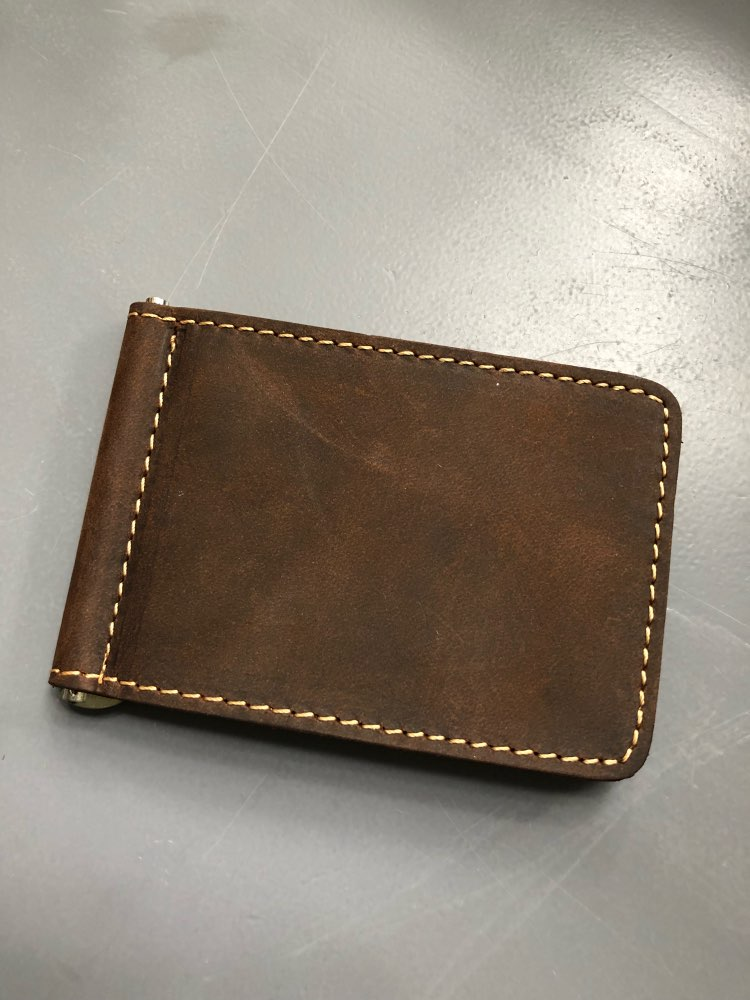 Fashion New Men Money Clips Crazy Horse Genuine Leather 2 Folded Open Clamp For Money Vintage Mini Wallet With Card ID Case photo review