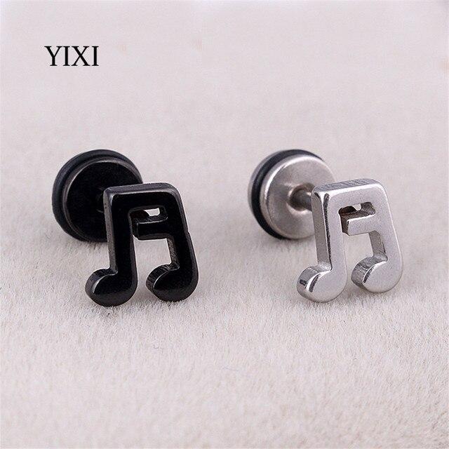 Yixi Music Note Earrings Ear Studs Metal Black Silver Fashion Women Men Jewelry Earring Pierced Stainless