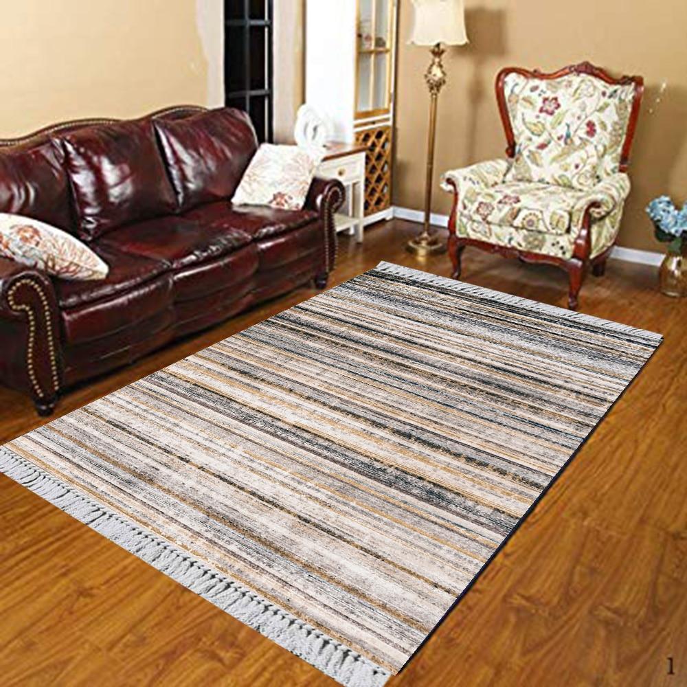 Else Gray Brown Stripe Lines Turkish Ethnic Vintage 3d Print Anti Slip Kilim Washable Decorative Kilim Area Rug Bohemian Carpet