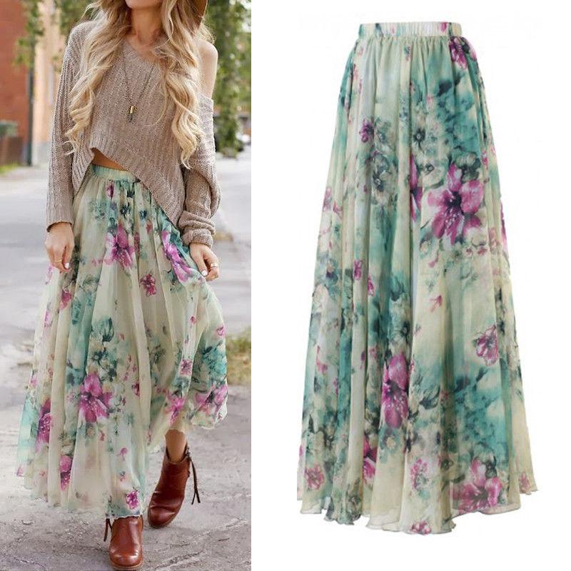 BOHO 2018  Fashion Womens Casual Floral Jersey Gypsy Long Maxi Full Skirt Summer Chiffon Beach Sun Long Skirts