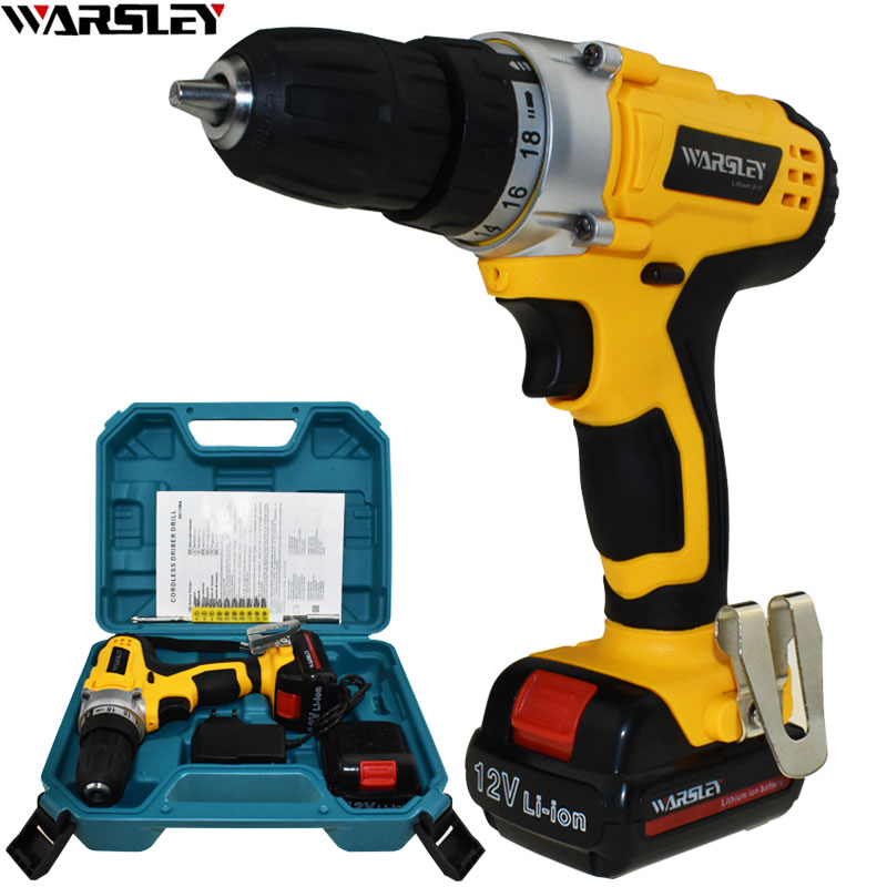 12V Cordless Drill Electric Screwdriver Electric Drill Power Tools Electric 2 Batteries Screwdriver Mini Drill Drilling Eu Plug free shipping brand proskit upt 32007d frequency modulated electric screwdriver 2 electric screwdriver bit 900 1300rpm tools